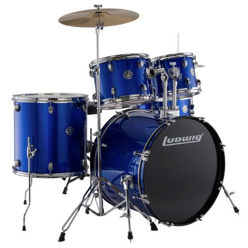 Ludwig LC17019 Accent Fuse 5-Piece Complete Drum Set, Blue Foil