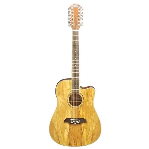 Oscar Schmidt OD312CE 12-String Acoustic Electric Guitar, Spalted Maple