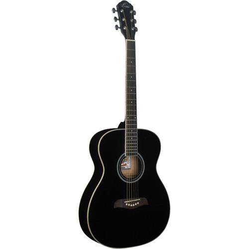 Oscar Schmidt OAB Auditorium Size Acoustic Guitar, Black (OAB)