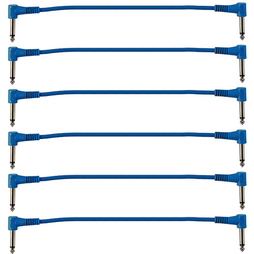 "ZoZo Blue 12-inch Patch Cables, 6-Pack, 1/4"" Right-Angle"