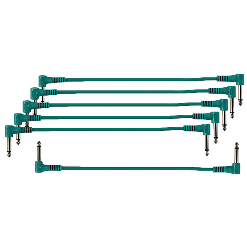 "ZoZo 12-inch Green Patch Cables, 6-Pack, 1/4"" Right-Angle"