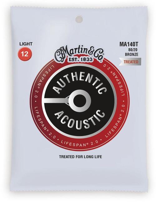 Martin MA140T Acoustic Lifespan 2.0 Acoustic Guitar Strings, Light 12-54