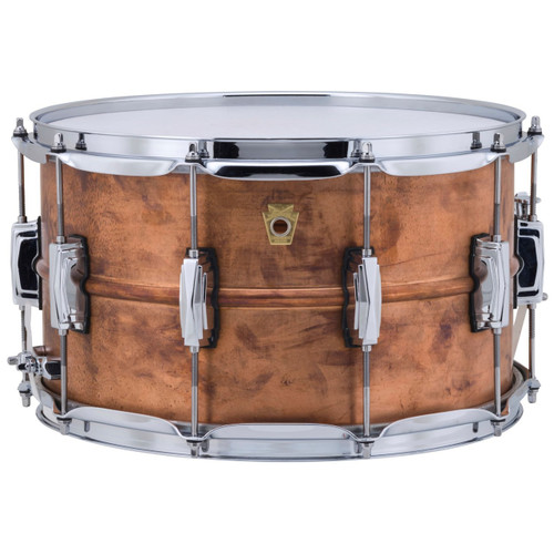 """Ludwig LC608R Copper Phonic 8""""x 14"""" Smooth Shell Snare Drum with Imperial Lugs, Raw Copper"""