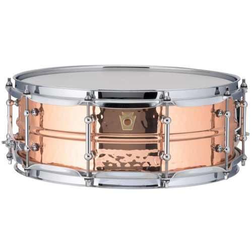 """Ludwig LC660KT Copper Phonic 5""""x 14"""" Hammered Shell Snare Drum with Tube Lugs"""
