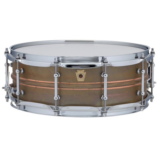"""Ludwig LC661T Copper Phonic 5""""x 14"""" Smooth Shell Snare Drum with Tube Lugs, Raw Patina"""