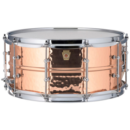 """Ludwig LC662KT Copper Phonic 6.5""""x 14"""" Hammered Shell Snare Drum with Tube Lugs"""