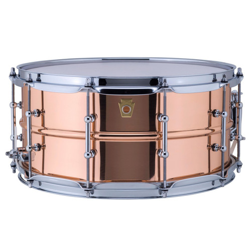"""Ludwig LC662T Copper Phonic 6.5""""x 14"""" Smooth Shell Snare Drum with Tube Lugs"""