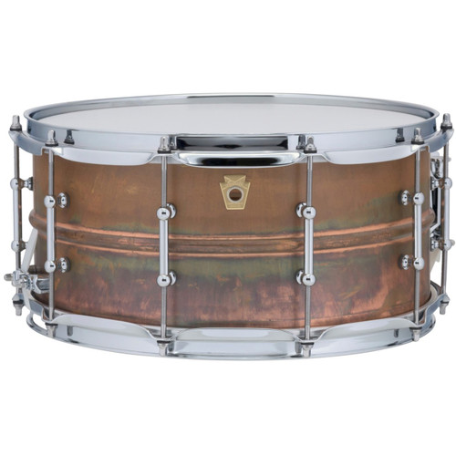 """Ludwig LC663T Copper Phonic 6.5""""x 14"""" Smooth Shell Snare Drum with Tube Lugs, Raw Patina"""