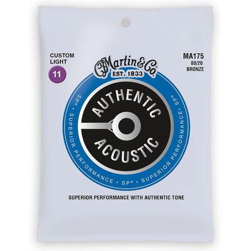 Martin MA175 Acoustic SP 80/20 Bronze Guitar Strings, Custom Light