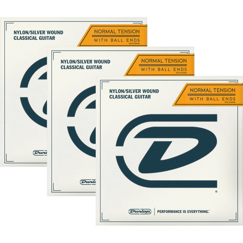 Dunlop DCV100NB Ball-End Classical Guitar Strings, Nylon/Silver Wound - 3 PACK