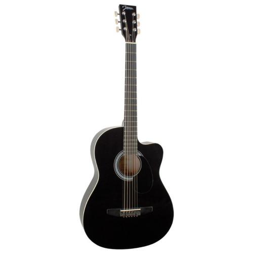 Johnson JG-100-CBK Student Cutaway Acoustic Guitar, Black