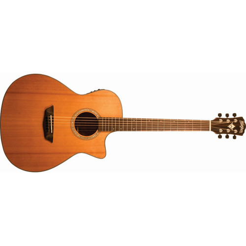 Washburn WLG110SWCEK Woodline Cutaway Grand Auditorium Acoustic Electric Guitar, Natural