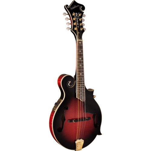 Washburn M3SWETWRK Americana F-Style Acoustic Electric Mandolin with Case, Trans Wine Red