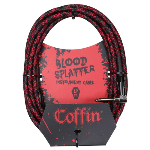 "Coffin CF-ICBS10R Bloodsplatter 10ft. Woven Instrument Cable, 1/4"" Right Angle"