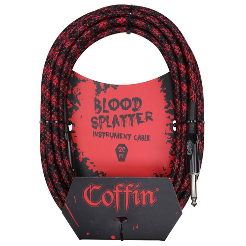 """Coffin CF-ICBS20 Bloodsplatter 20ft. Woven Instrument Cable, 1/4"""" Straight"""