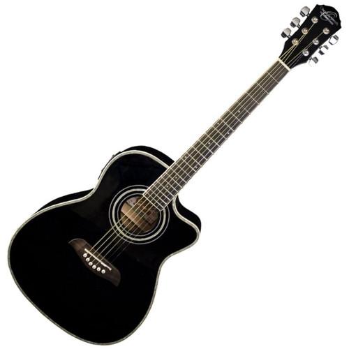 Oscar Schmidt OG1CEB Student 3/4 Size Dreadnought Acoustic Electric Guitar, Black