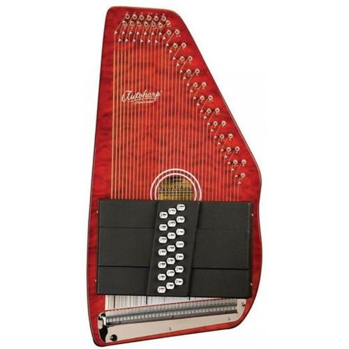 Oscar Schmidt OS21CQTR Classic 21-Chord Autoharp, Quilted Transparent Red