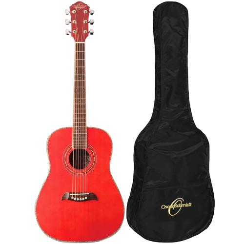 Oscar Schmidt OGHSTR 1/2 Size Acoustic Guitar w/ Gig Bag, Trans Red