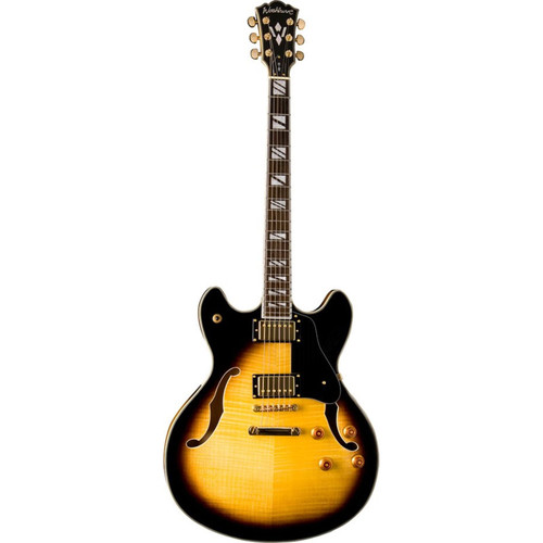 Washburn HB35TSK Hollowbody Electric Guitar, Tobacco Sunburst