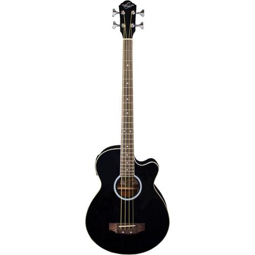 Oscar Schmidt OB100B 4-String Acoustic Electric Bass Guitar with Bag, Black