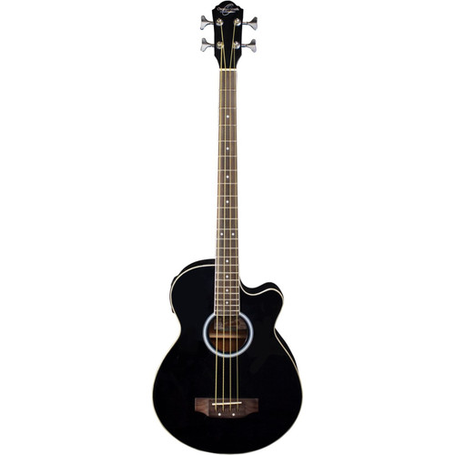 Oscar Schmidt OB100B 4-String Acoustic Electric Bass Guitar with Bag, Black
