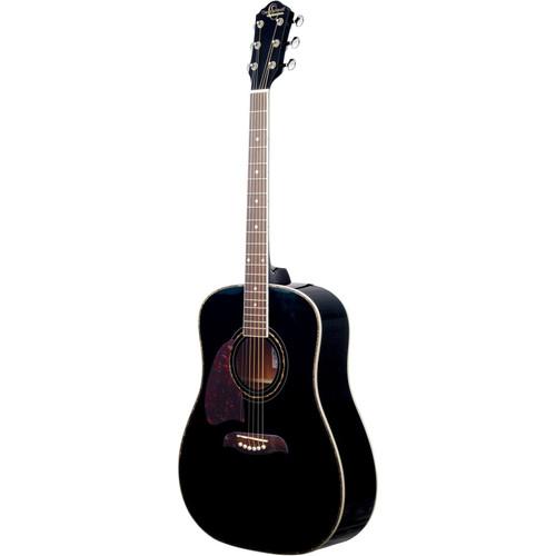 Oscar Schmidt OG2BLH Left-Handed Dreadnought Acoustic Guitar, Black