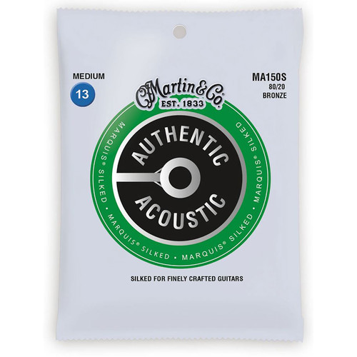 Martin MA150S Authentic Acoustic Marquis Silked Acoustic Guitar Strings, Medium
