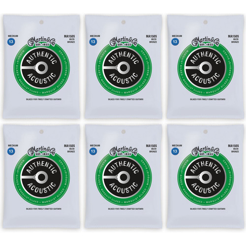 Martin MA150S Authentic Acoustic Marquis Silked Acoustic Guitar Strings - 6 PACK
