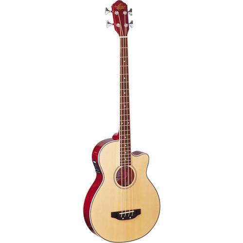 Oscar Schmidt OB100N 4-String Acoustic Electric Bass Guitar with Bag, Natural