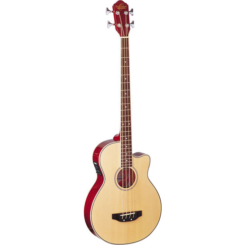 Oscar Schmidt OB100N 4-String Acoustic Electric Bass Guitar with Bag, Natural