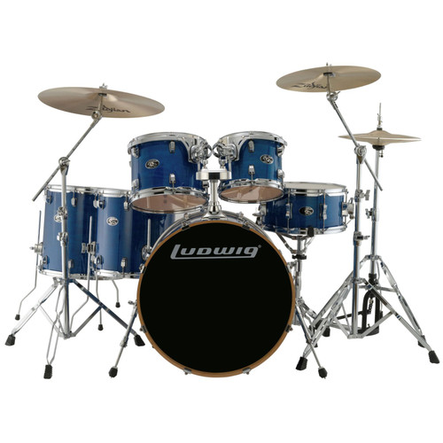 Ludwig LCEM622XBL Evolution Maple 6-Piece Shell Pack w/ Remo Heads, Transparent Blue