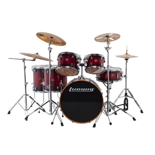 Ludwig LCEM622XRF Evolution Maple 6-Piece Shell Pack w/ Remo Heads, Red Burst (LCEM622XRF)