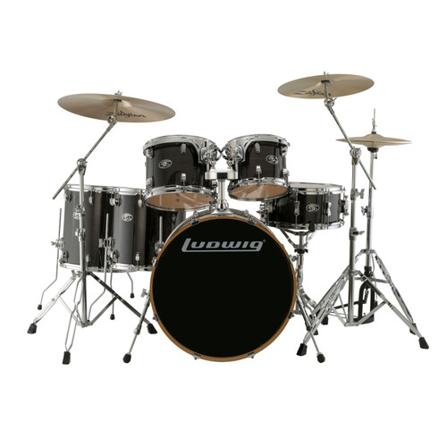 Ludwig LCEM622XTB Evolution Maple 6-Piece Shell Pack w/ Remo Heads, Transparent Black