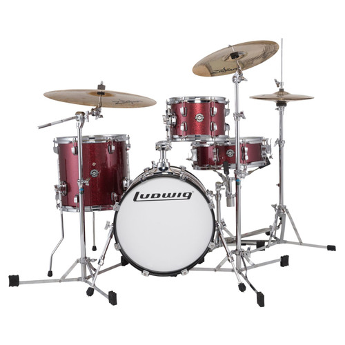 Ludwig LC179XX025 Breakbeats by Questlove 4-Piece Shell Pack, Wine Red Sparkle