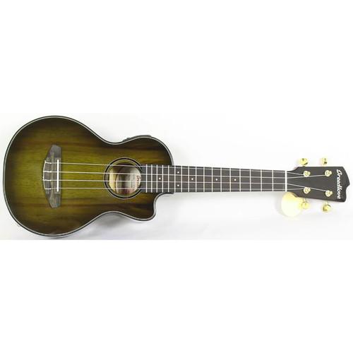 Breedlove Lu'au Concert Size Myrtlewood Acoustic Electric Ukulele, Olive Burst with Cutaway (LUCU26CEMYMY)