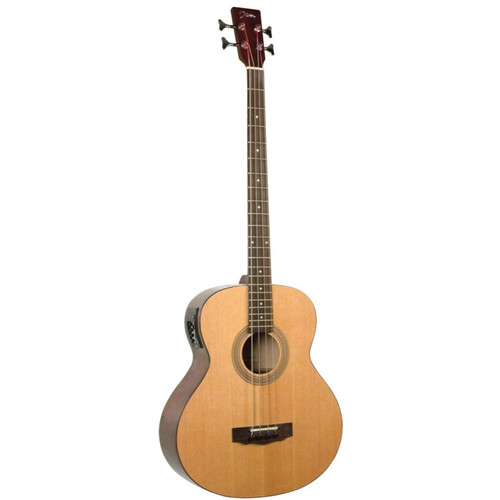 Johnson JG-622-E 4-String Jumbo Acoustic Electric Bass Guitar, Natural