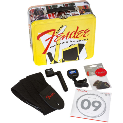 Fender Collectible Lunchbox with Guitar Accessories, Vintage Catalog Artwork