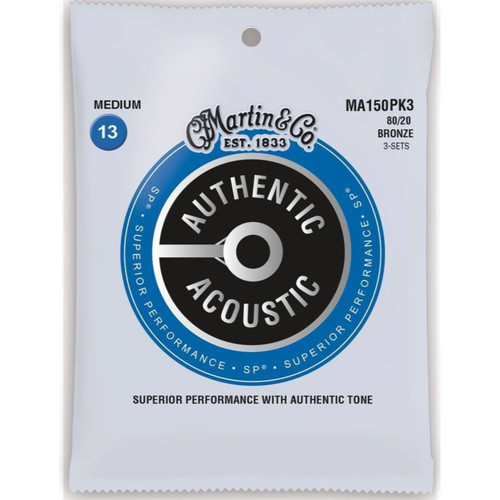 Martin MA150PK3 Authentic Acoustic SP 80/20 Bronze Guitar Strings, Medium, 3-Pack