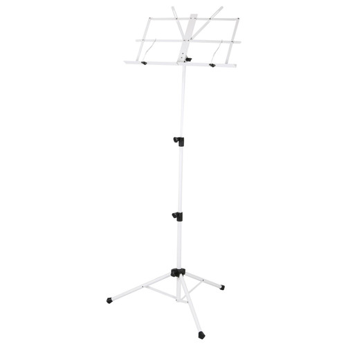 Strukture SMS1X-WT Deluxe 3-Part Folding Music Stand with Bag, White