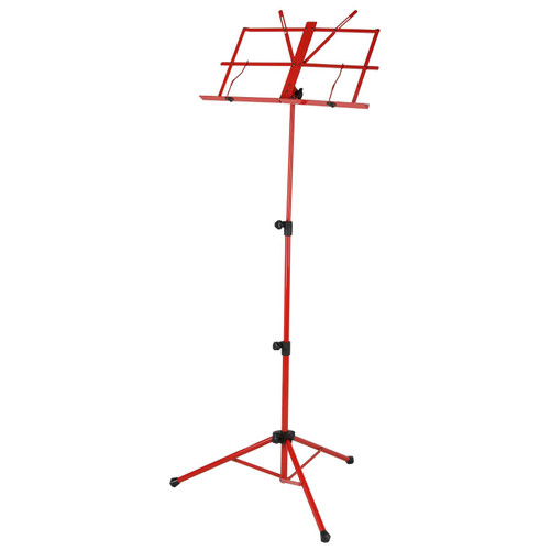 Strukture SMS1X-RD Deluxe 3-Part Folding Music Stand with Bag, Red