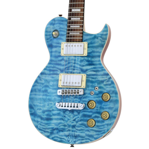 Aria Pro II PE-480 Quilted Maple Top Electric Guitar, See Thru Emerald Blue (PE-480-SEBL)