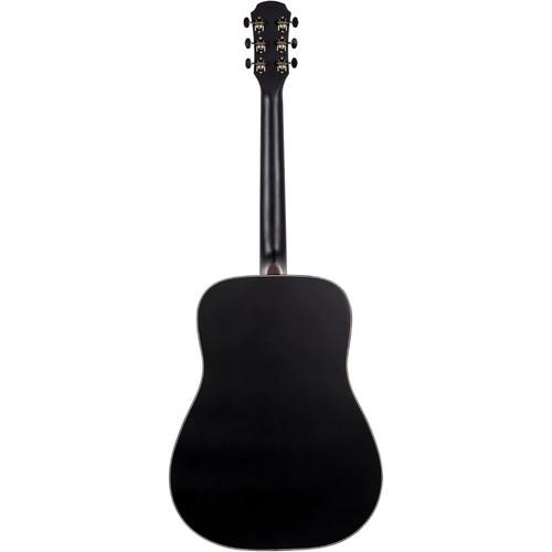 Aria 111 Vintage 100 Series Dreadnought Acoustic Guitar, Matte Black