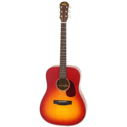 Aria 111 Vintage 100 Series Dreadnought Acoustic Guitar, Matte Cherry Burst