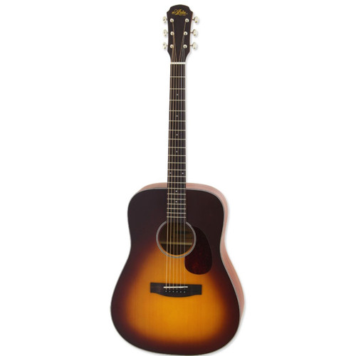 Aria 111 Vintage 100 Series Dreadnought Acoustic Guitar, Matte Tobacco Burst