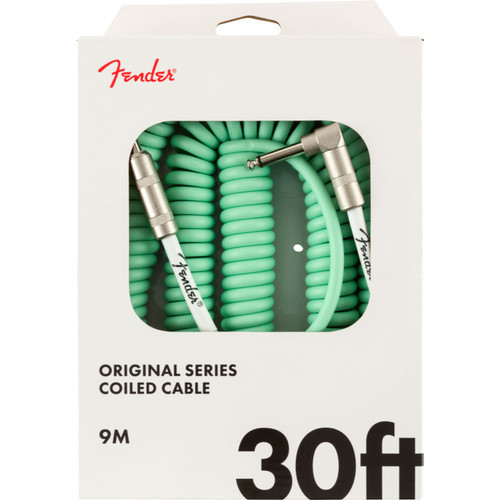Fender Original Series 30 ft. Straight-Angle Coiled Guitar Cable, Surf Green