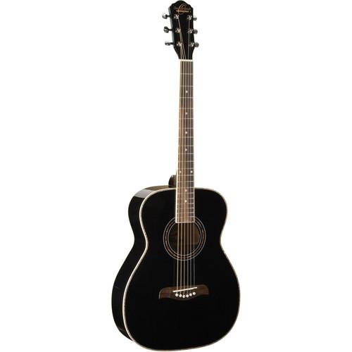 Oscar Schmidt OF2B Folk Style Acoustic Guitar, Black