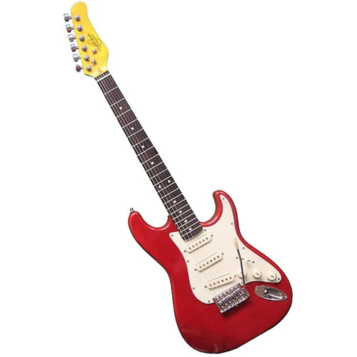 Oscar Schmidt OS30 Solid Body 3/4 Size Electric Guitar, Metallic Red