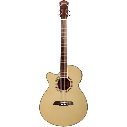 Oscar Schmidt OG10CE Left-Handed Concert Size Acoustic Electric Guitar, Natural (OG10CENLH)