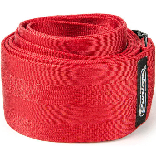 """Dunlop 2"""" Deluxe Seatbelt Guitar Strap, Red (DST70-01RD)"""