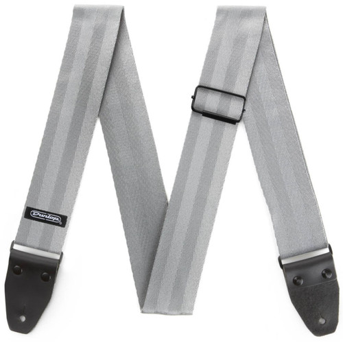 """Dunlop 2"""" Deluxe Seatbelt Guitar Strap, Grey (DST70-01GY)"""